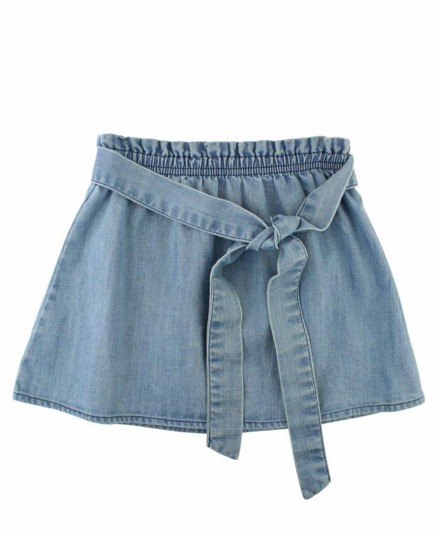 Rufflebutts Light Wash Denim Paperbag Skirt