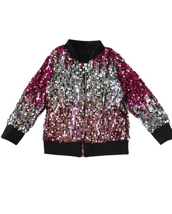 Girl's Sequin Bomber Jacket