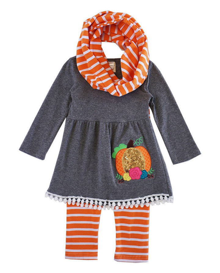 Girl's Sequin Pumpkin Set