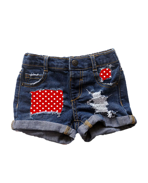 red and white polka distressed denim shorts