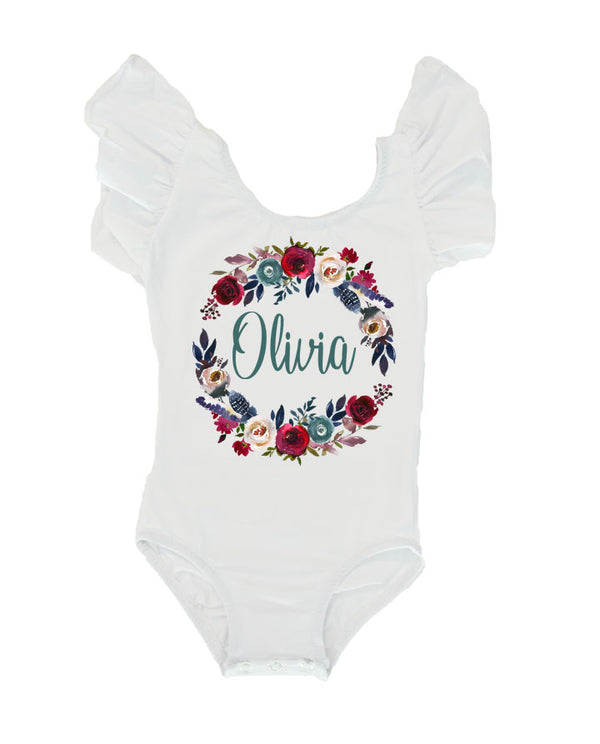 Girls' Fall Floral Birthday Outfit, Fall Rose Leotard