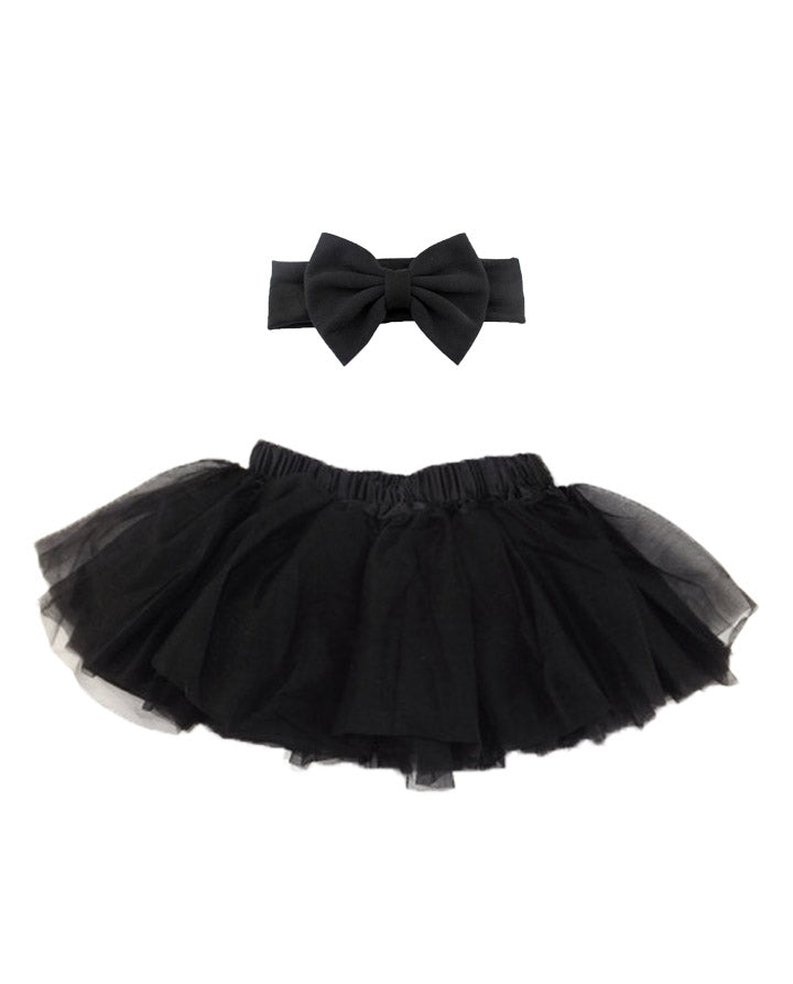 Girls' solid black tutu with matching headband
