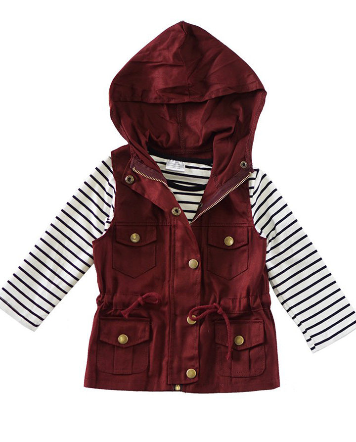 Stripe Shirt Maroon Vest Set