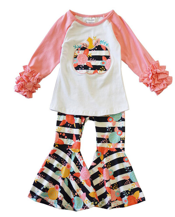 Floral Stripe Pumpkin Bell Bottoms Set