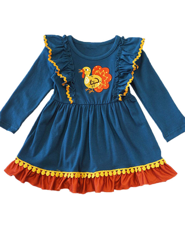 Girls Teal Thanksgiving Turkey Ruffle Dress