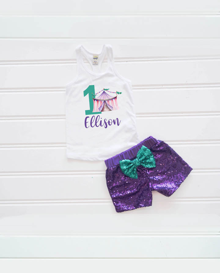 Girls Circus Big Top Birthday Outfit, Vintage Circus Outfit, Girl First Birthday Outfit, Personalized Circus Outfit
