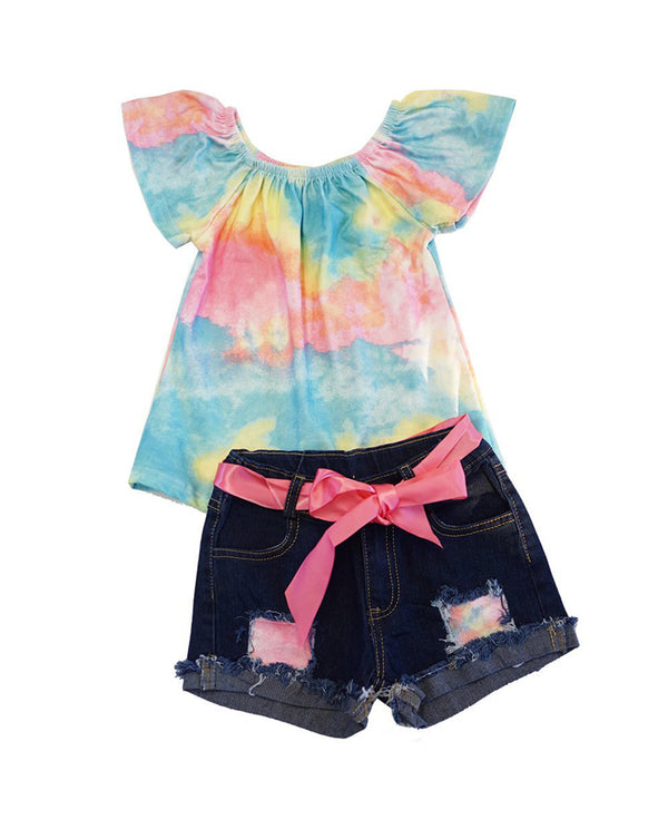 Tie Dye Tunic With Denim Shorts Set