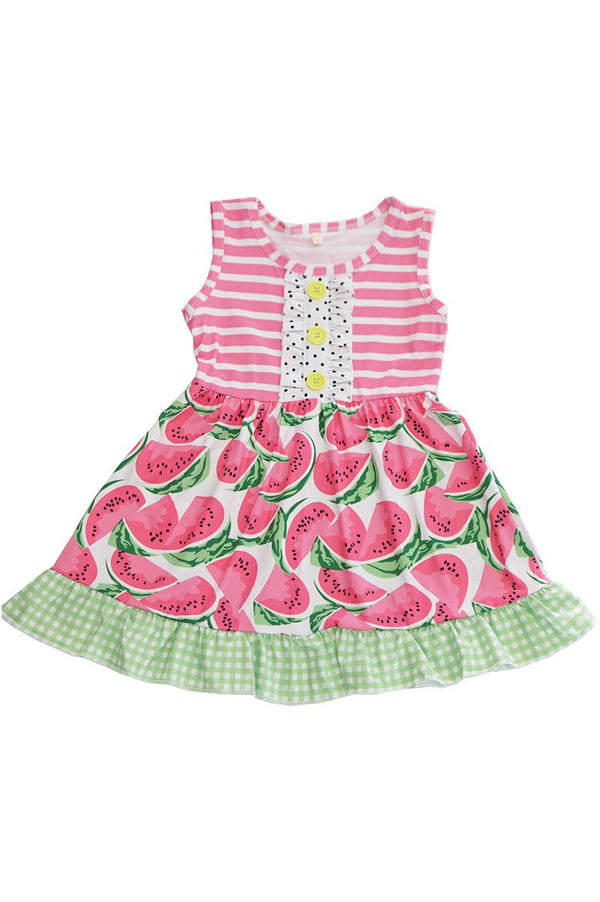 Girls' pink stripe watermelon dress