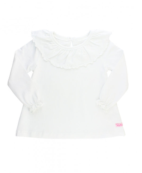 Rufflebutts white ruffle neck top