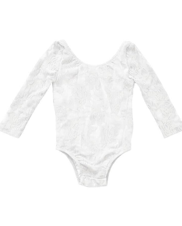 Girls' White Lace Leotard