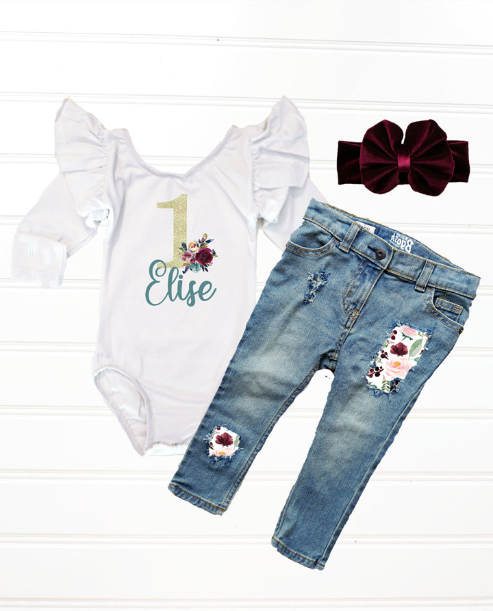 baby girls wine and teal floral rose birthday outfit