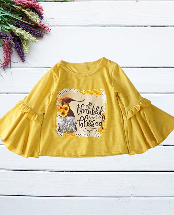 Girls Thankful and Blessed Bell Sleeve Top