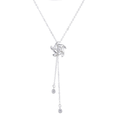 Genuine 925 Sterling Silver Windmill Crystal Pendant Necklace *** FREE SHIPPING *** - Delivered Value