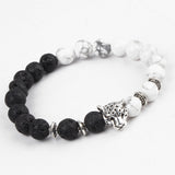 White and Black Sliver Leopard Charm Bracelet - Delivered Value