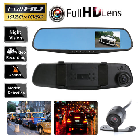 Dual Lens Rear View Mirror HD 1080P in-Car Dash Cam Recorder *** FREE SHIPPING *** - Delivered Value
