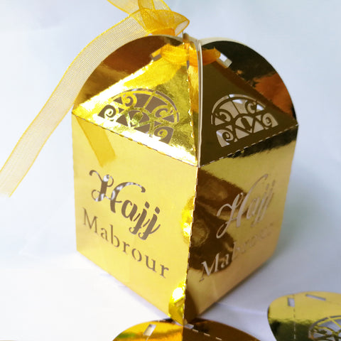 50 gold silver laser cut Hajj Mabrour Gift Boxes - Delivered Value
