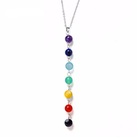 7 Chakra Gem Stone Beads Necklace  *** FREE SHIPPING *** - Delivered Value