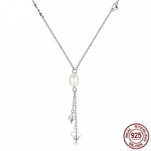 Genuine 925 Sterling Silver Pearl Pendant Necklace *** FREE SHIPPING *** - Delivered Value