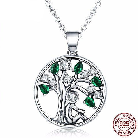 Genuine 925 Sterling Silver Green Crystal Tree of Life Pendant Necklace *** FREE SHIPPING *** - Delivered Value