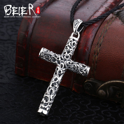 Genuine 925 Sterling Silver Stylish Cross Pendant with Rope Necklace *** FREE SHIPPING *** - Delivered Value