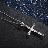 Genuine 925 Sterling Silver Cross and Crystal Pendant Necklace *** FREE SHIPPING *** - Delivered Value