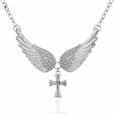 Angel Wings and Cross Pendant Necklace *** FREE SHIPPING *** - Delivered Value