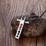 Crystal Rainbow Stainless Steel Cross Pendants Necklace *** FREE SHIPPING *** - Delivered Value
