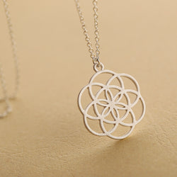 Silver Mandala Flower of Life Sacred Geometry Pendant Necklace ***FREE SHIPPING *** - Delivered Value