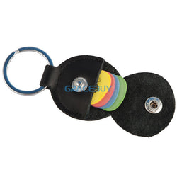 Guitar Pick Holder Black Genuine Leather with Key Chain - Delivered Value