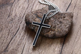 Titanium with Black Insert Cross Pendant Necklace *** FREE SHIPPING *** - Delivered Value