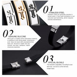 Stainless Steel Cross Bracelet - Gold Silver and Black *** FREE SHIPPING *** - Delivered Value