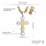 Stainless Steel 3 Layer Byzantine Cross Pendant Necklace *** FREE SHIPPING *** - Delivered Value