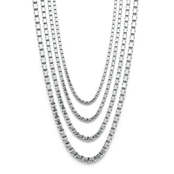 Genuine 925 Sterling Silver Box Chain Necklace Multiple Sizes *** FREE SHIPPING ***