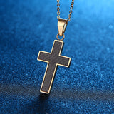 Vintage Stainless Steel Gold Black Cross Pendant Necklace *** FREE SHIPPING *** - Delivered Value