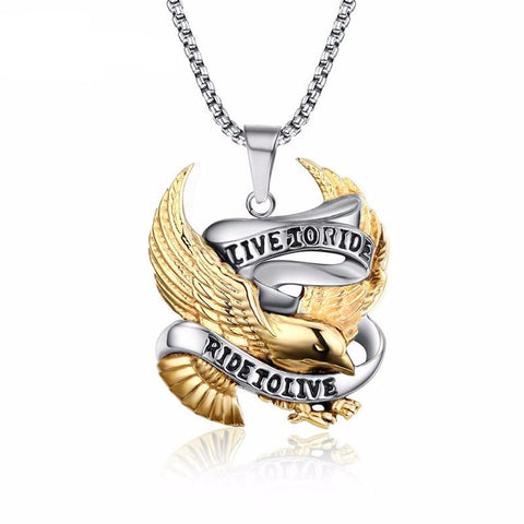 Stainless Steel Eagle Biker Pendant Necklace LIVE TO RIDE *** FREE SHIPPING *** - Delivered Value