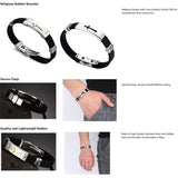 Stainless Steel Cross Silicone Bracelet *** FREE SHIPPING *** - Delivered Value