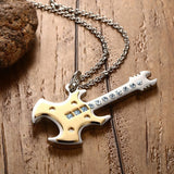 Trendy Guitar Pendant Necklace Gold and Black - Delivered Value