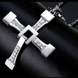 Large Steel The Fast and Furious Crystal Cross Pendant Necklace *** FREE SHIPPING *** - Delivered Value