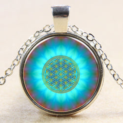 New Blue Flower Of Life Pendant Necklace *** FREE SHIPPING *** - Delivered Value