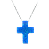 Real Opal Cross Pendant and Sterling Silver Necklace *** FREE SHIPPING *** - Delivered Value