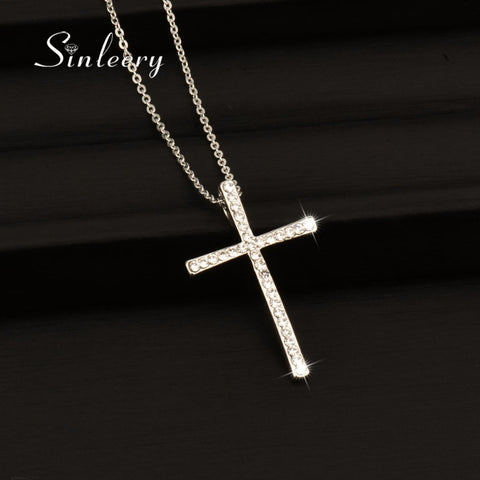 Rhinestone Cross Pendant Necklace Gold or Silver *** FREE SHIPPING *** - Delivered Value