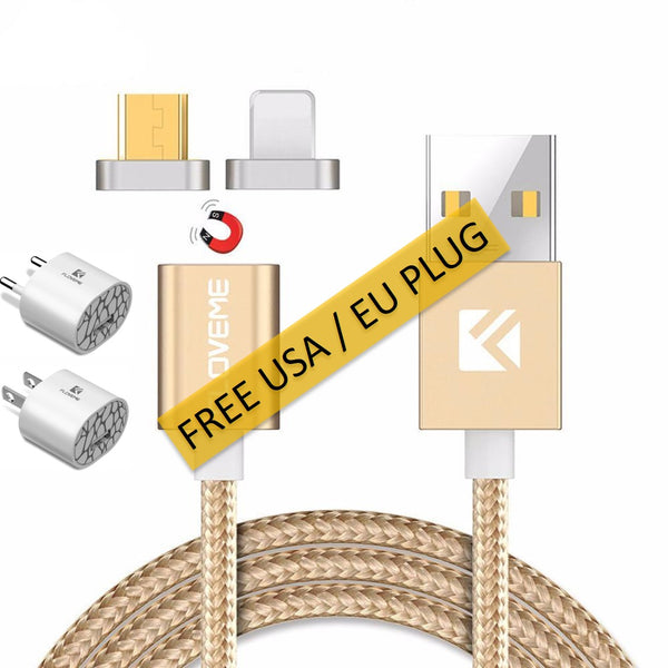 Magnetic USB Fast Charger Cable with FREE US / EU Travel Plug Adapter For iPhone & Android - Delivered Value