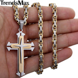 Stainless Steel 3 Layer Knight Cross Pendant Necklace *** FREE SHIPPING *** - Delivered Value