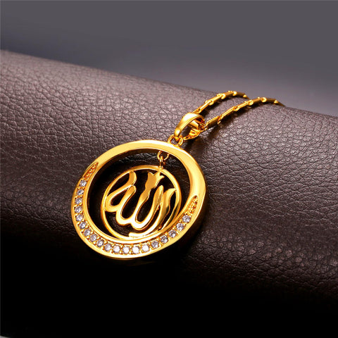 Round allah pendant necklace gold silver with zircon diamonds round allah pendant necklace gold silver with zircon diamonds free shipping aloadofball Gallery