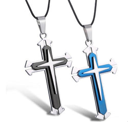 Stainless Steel 3 Layer Cross Pendant Necklace *** FREE SHIPPING *** - Delivered Value