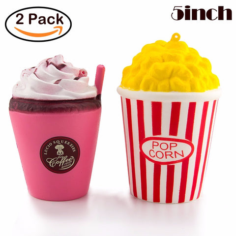 2 x Squishy set with Popcorn and Coffee cup *** FREE SHIPPING *** - Delivered Value