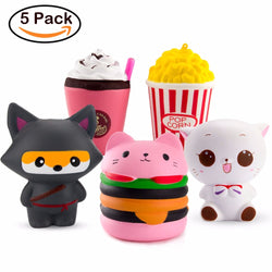 5 x Squishy set with Cute Animals & Food *** FREE SHIPPING *** - Delivered Value