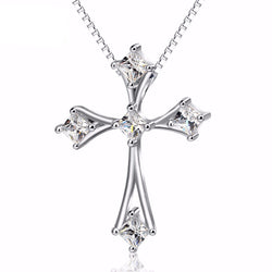 Genuine 925 Sterling Silver Crystal Cross Pendant Necklace *** FREE SHIPPING *** - Delivered Value