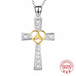 Genuine 925 Sterling Silver Celtic Knot Cross Pendant Necklace *** FREE SHIPPING *** - Delivered Value