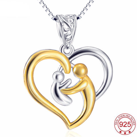 Genuine 925 Sterling Silver Gold Plated Heart Mother Baby Pendant Necklace *** FREE SHIPPING *** - Delivered Value